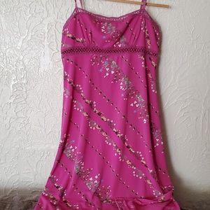BCBG Dresses Pink Floral Midi Side Slit Dress
